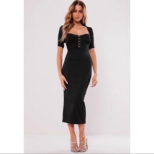 Missguided Black Milkmaid Midi Dress US 4 NWT